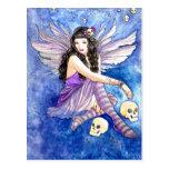 Skull Fairy, gothic dark fantasy purple moth art Postcard