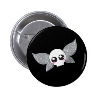 Skull Fairy - Grey Pinback Button