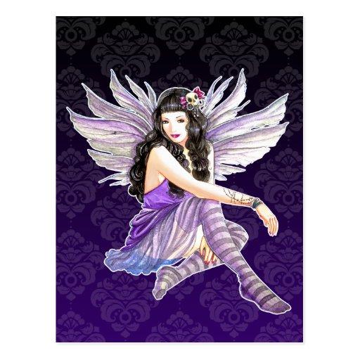 Skull Fairy Purple Damask Custom Postcard