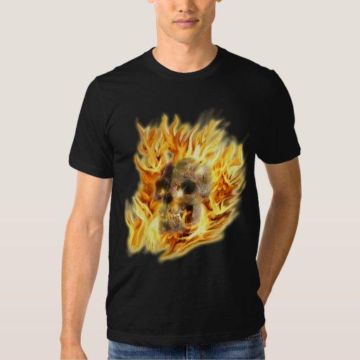 SKULL & FIERY FLAMES Aaryn Steele Art T-Shirt