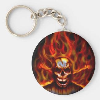 Skull Fire Keychain
