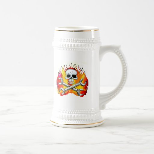 Skull Flames and Crossed Chrome Wrenches Beer Stein