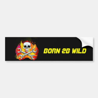 Skull Flames and Crossed Chrome Wrenches Bumper Sticker
