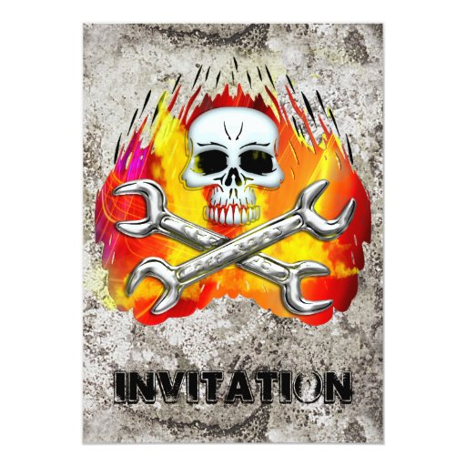 Skull Flames and Crossed Chrome Wrenches Card