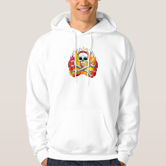 Skull Flames and Crossed Chrome Wrenches Hoodie