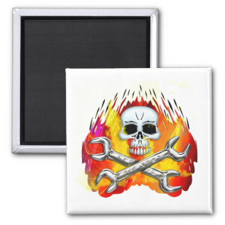 Skull Flames and Crossed Chrome Wrenches Magnet