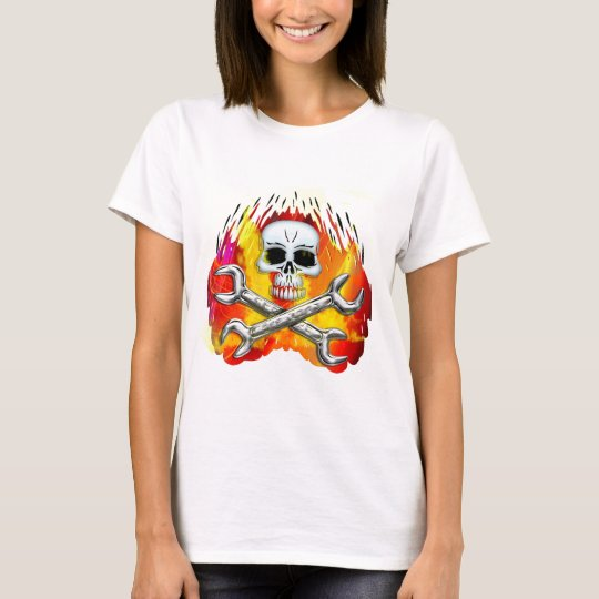 Skull Flames and Crossed Chrome Wrenches T-Shirt