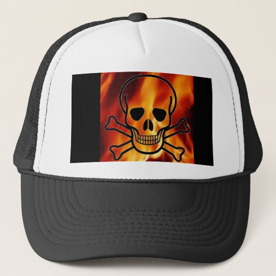 Skull Flames Baseball Hat