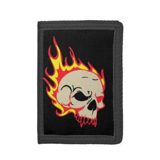 Skull Flames Black Trifold Wallet