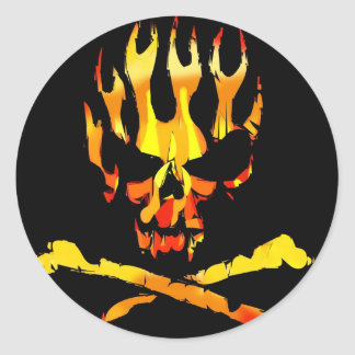 skull flames stckers classic round sticker