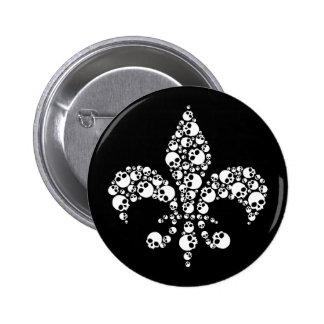 Skull Fleur De Lis 2 Inch Round Button