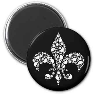 Skull Fleur De Lis 2 Inch Round Magnet