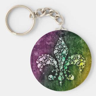 Skull Fleur De Lis Basic Round Button Keychain