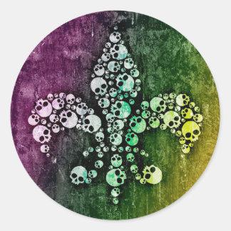 Skull Fleur De Lis Classic Round Sticker
