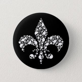 Skull Fleur De Lis Pinback Button