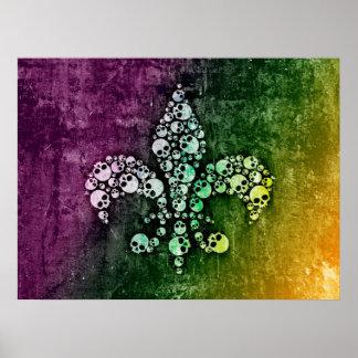 Skull Fleur De Lis Poster