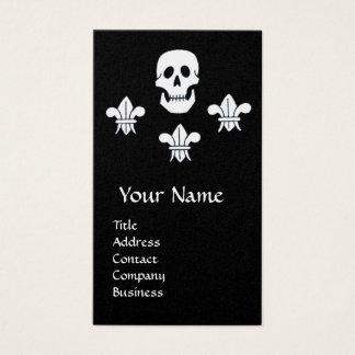 SKULL,FLEUR DE LISE /ANTIQUE PIRATES TREASURE MAPS BUSINESS CARD