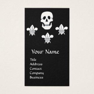 SKULL,FLEUR DE LISE  ANTIQUE PIRATES TREASURE MAPS BUSINESS CARD