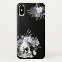 Skull Floral Roses Black White Goth Halloween iPhone X Case