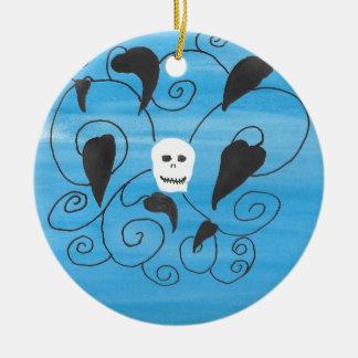 Skull Flourish Ceramic Ornament