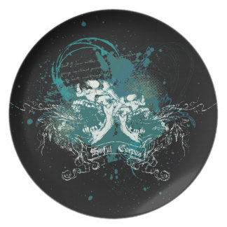 Skull Flourishes and Urban Art Custom Plate