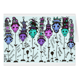 SKuLL FLoWeRs~ Multi colors - Customized Card