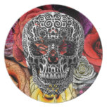 Skull Flowers Party Plates