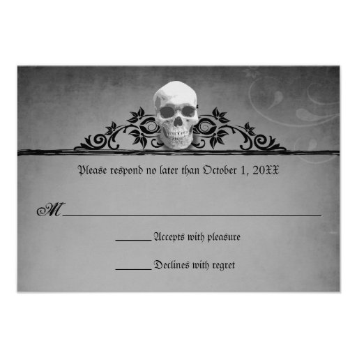 Skull Frame Halloween Wedding Reply RSVP Personalized ...