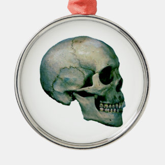 Skull From Profile Metal Ornament