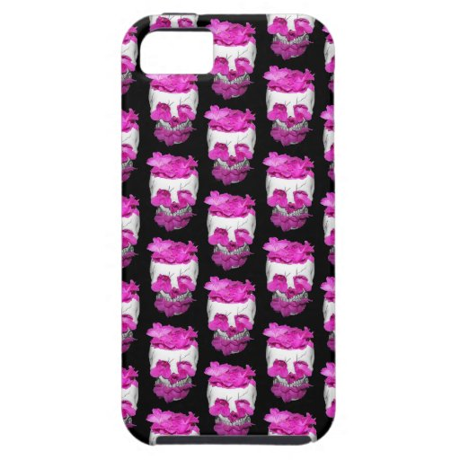 Skull Full of Pink Flowers Pattern iPhone 5 Cases