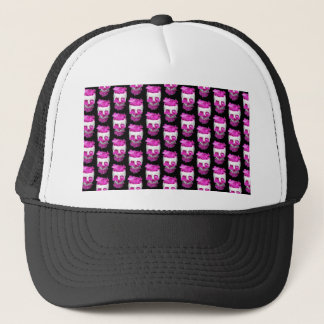 Skull Full of Pink Flowers Pattern Trucker Hat