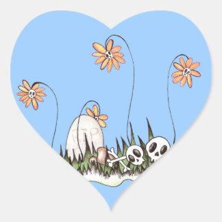 Skull Garden Heart Sticker