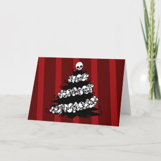 Skull Garland Christmas Tree Holiday Card