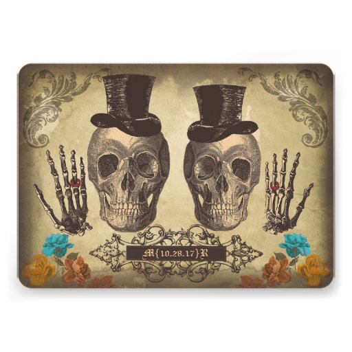 Skull gay couple Victorian Gothic Wedding Invite