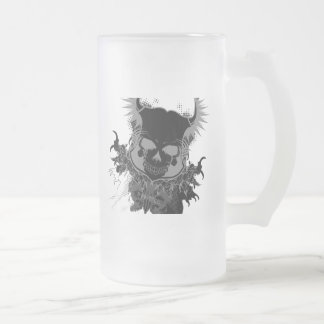 Skull Gear Frosted Glass Beer Mug
