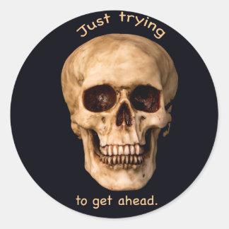 Skull get ahead classic round sticker