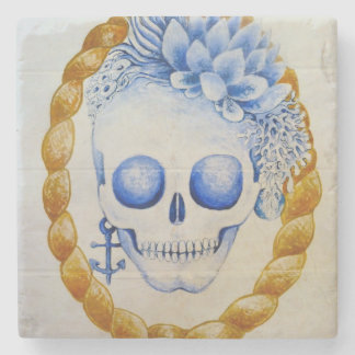 skull girl home gift tattoo style art stone coaster