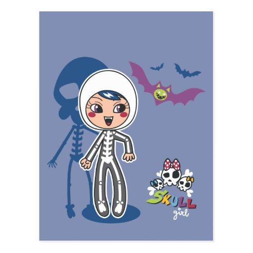 Skull girl postcard