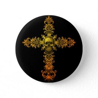 Skull Gold Cross button