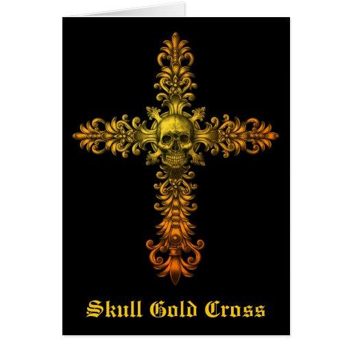 Skull Gold Cross Card