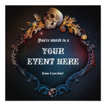 printabledigidesigns Skull Gothic Birthday Halloween Party Invitation