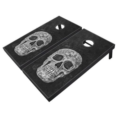 Skull Gothic Grunge Texture Black And White Old Cornhole Set