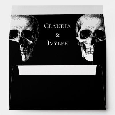 Skull Gothic Halloween Wedding Envelopes