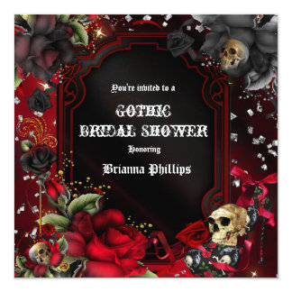 Skull Gothic Red Black Roses Bling Invitation