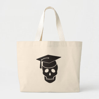 skull graduated from school large tote bag