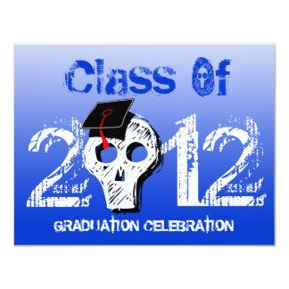 Skull Graduation Invitation Cold Blue