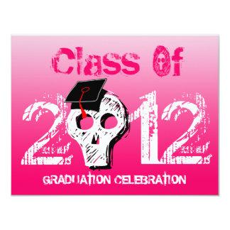 Skull Graduation Invitation Love Pink
