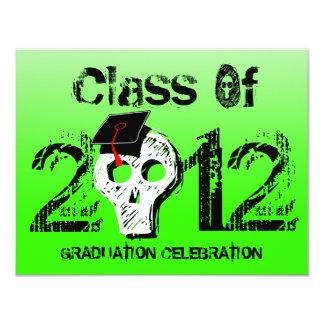 Skull Graduation Invitation Neon Green