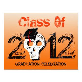 Skull Graduation Invitation Pumpkin Orange