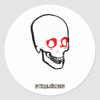 Skull Graphic White Classic Round Sticker